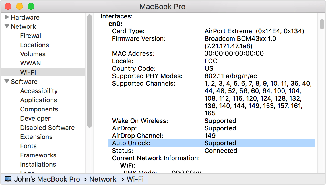 The Wi-Fi tab in the  System Information window showing the Auto Unlock: Supported information.