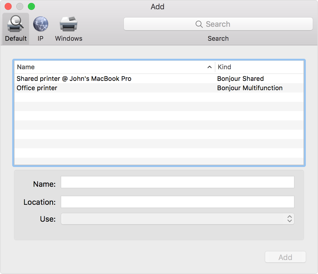 add printer to mac wireless network