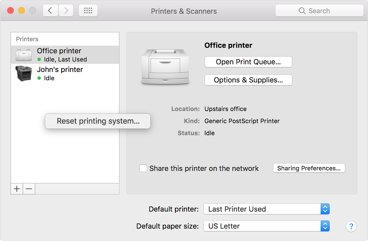 Choose Reset Printing System From The Menu That Appears
