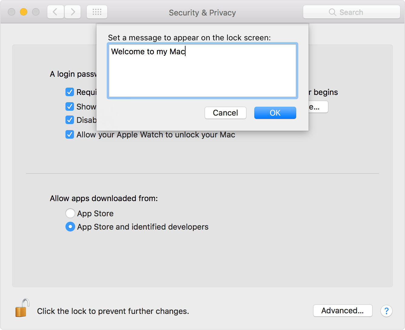 How to set a lock message on the login window of your Mac