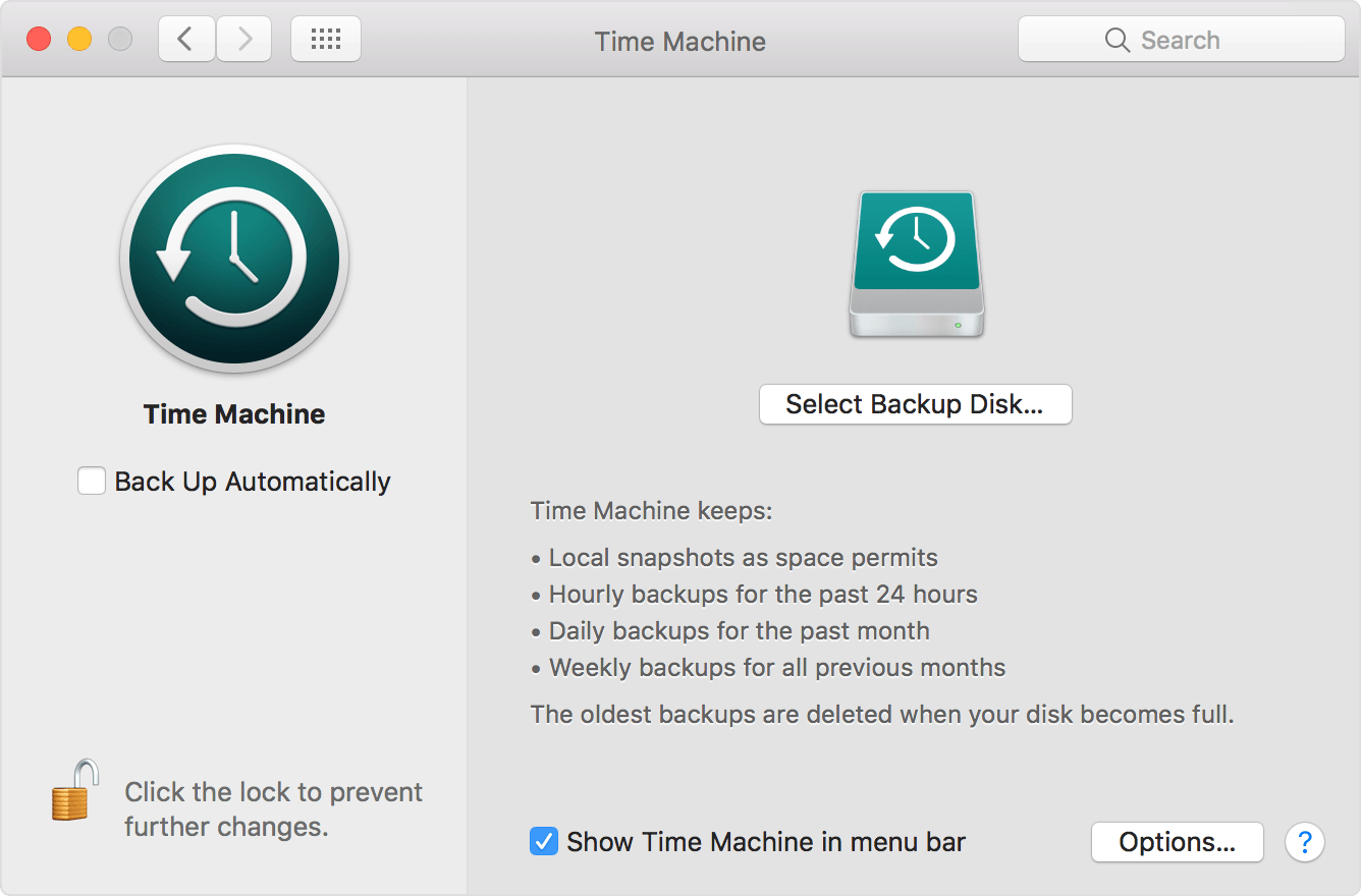 open time machine preferences