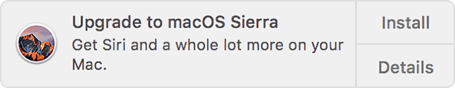 Notification: Upgrade to macOS Sierra