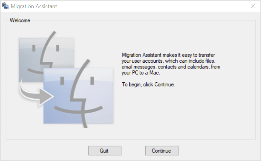 Migration Assistant welcome screen