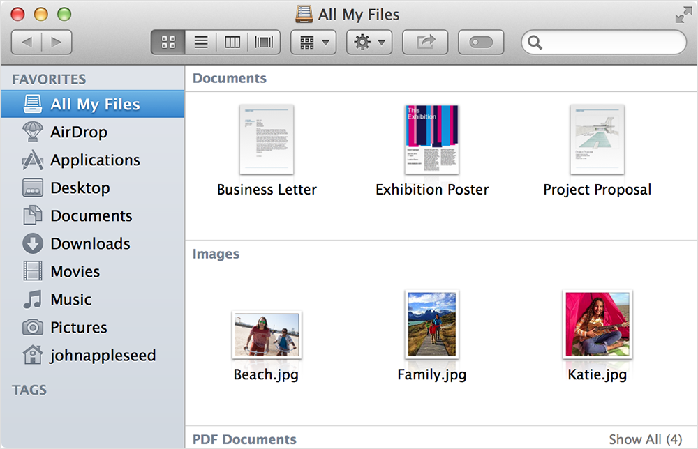 new Finder window showing All My Files