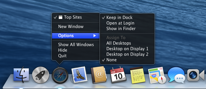 Assign Safari to All Desktops, None, Desktop on Display 1, or Desktop on Display 2