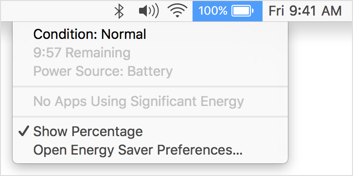 Battery Menu with Condition