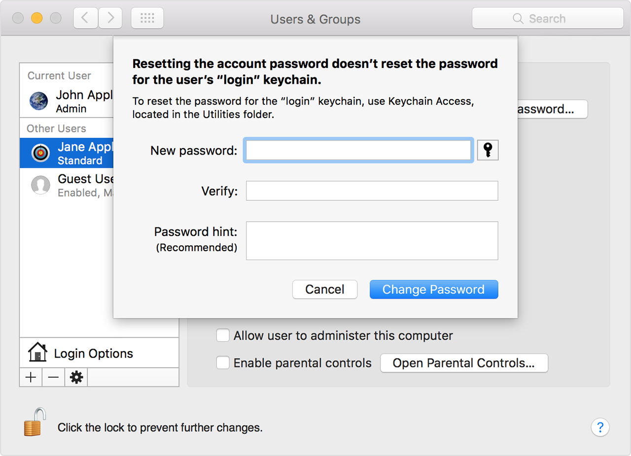 Change or reset the password of a macOS user account - Apple