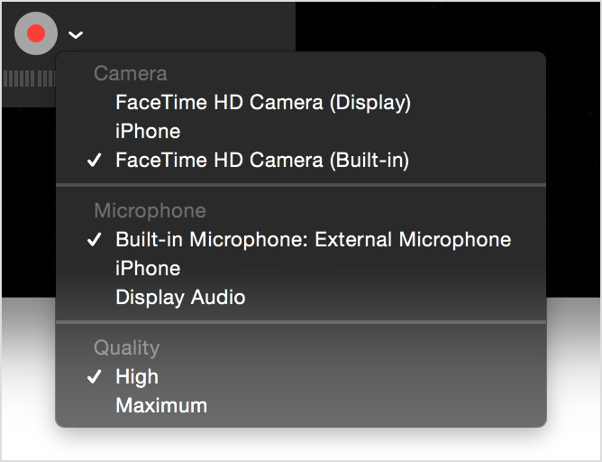 Movie recording window with settings menu