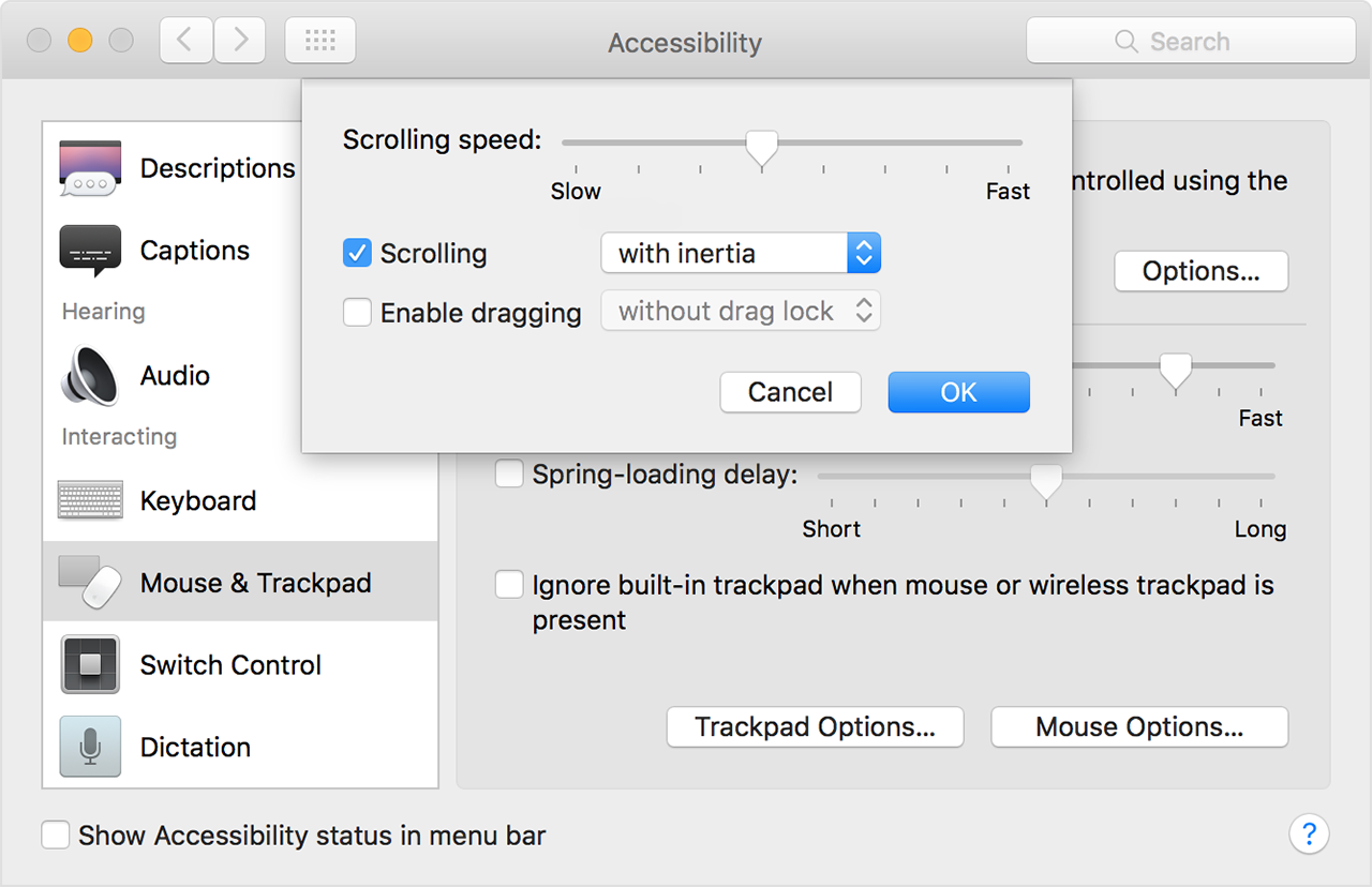 Adjust double-click and scrolling speed of your mouse or trackpad