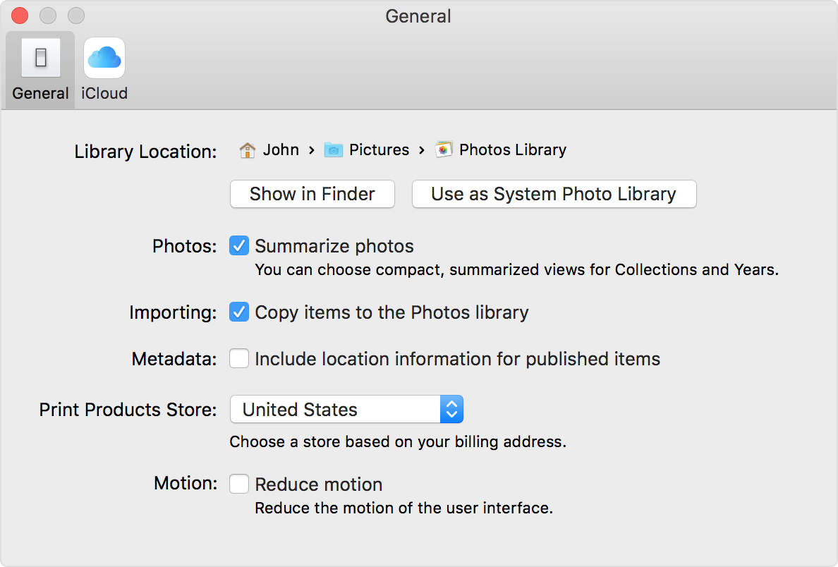 Photos preferences