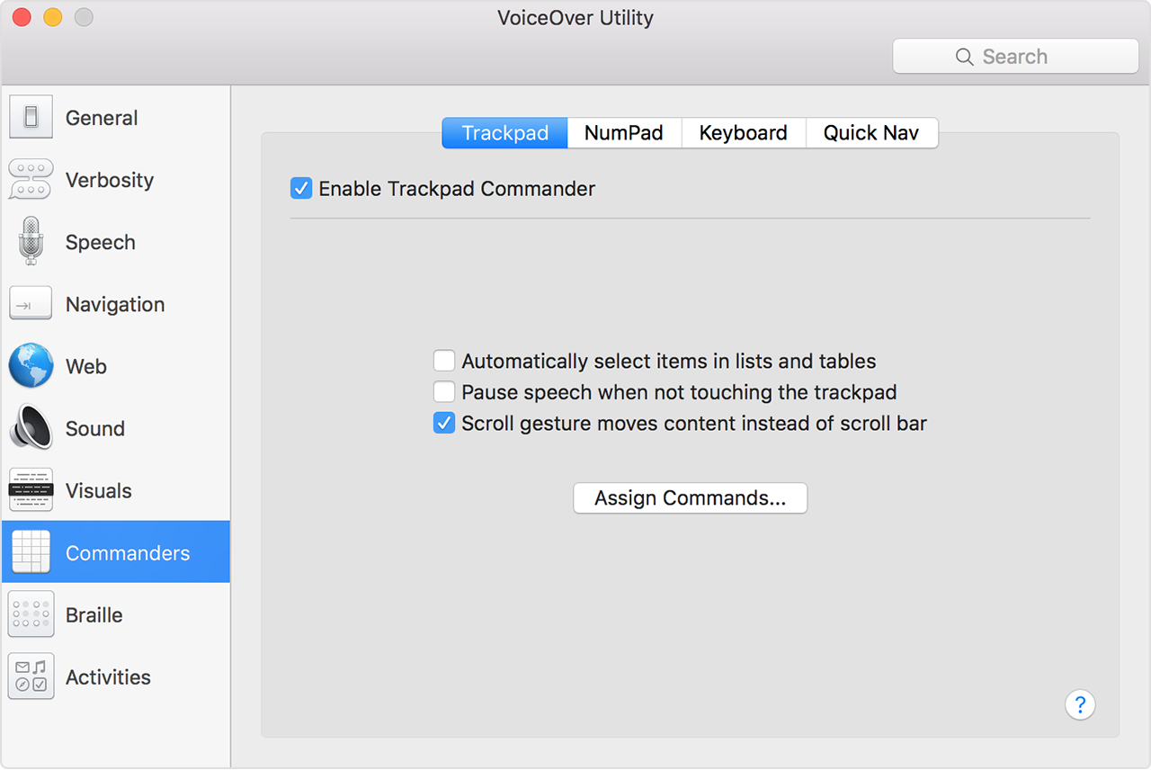 VoiceOver Utility window showing Enable Trackpad Commander