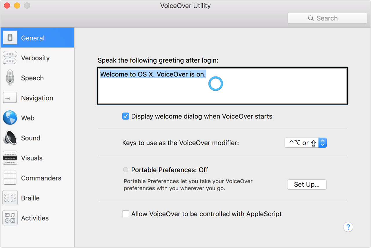 VoiceOver Utility window showing blue ring