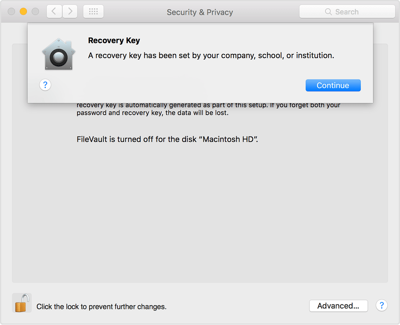 Set a FileVault recovery key for computers in your institution