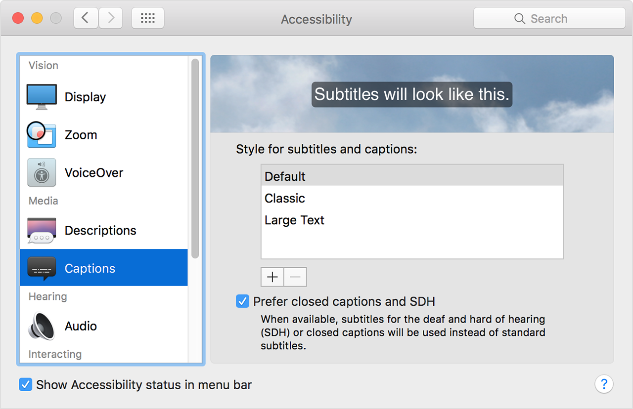 Turn on closed captions and subtitles on your mac apple support customize captions and subtitles ccuart Choice Image