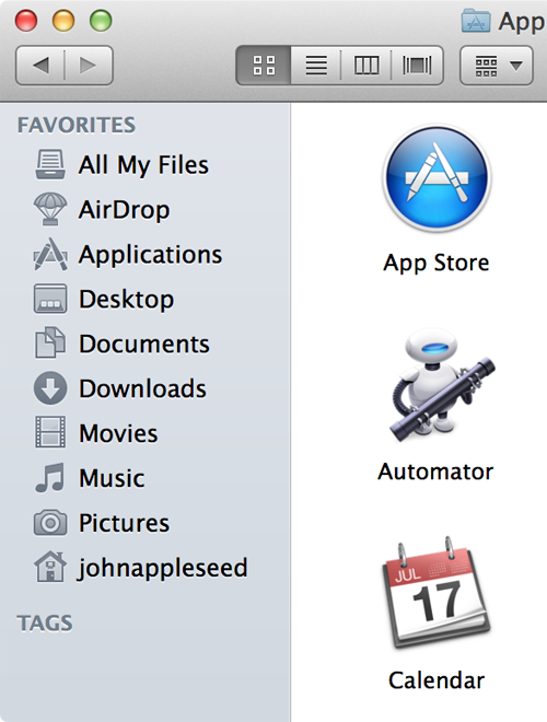 Finder window with sidebar