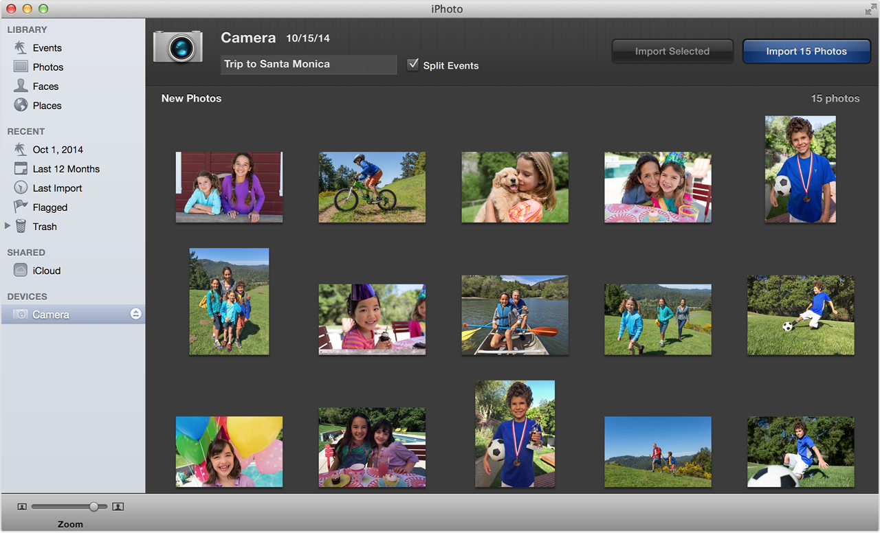 IPhoto window importing photos