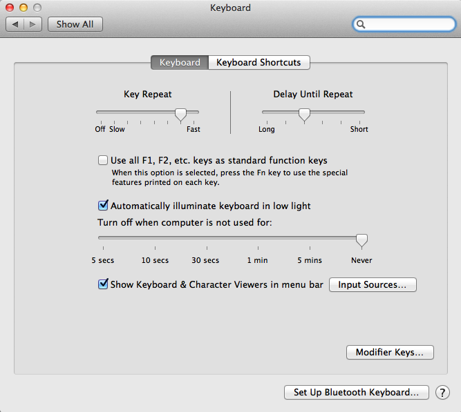 Default System Preferences settings for keyboard backlight