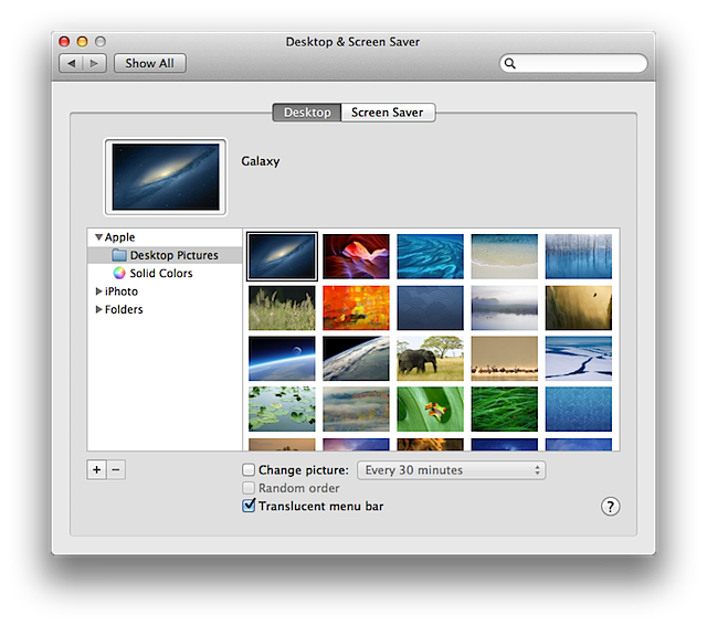 Desktop preferences in System Preferences