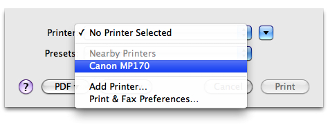 select printer from printer pop-up menu