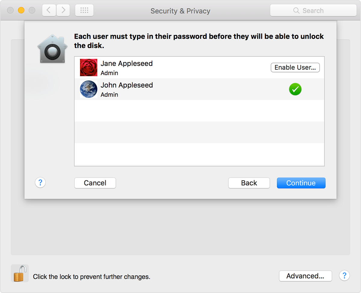 Use FileVault to encrypt the startup disk on your Mac