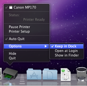 right-click printer icon menu