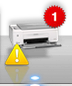printer error icon with yellow exclamation point