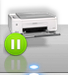 printer icon with green pause button