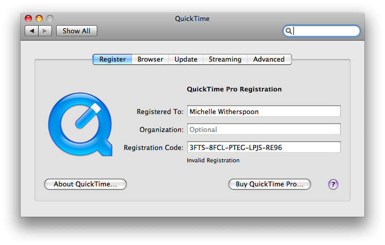 quicktime 7 registration code