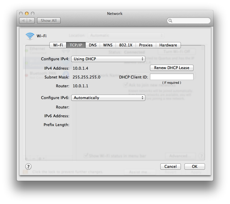 Obtain an automatic IP address: Mac OS X 10.4 and older
