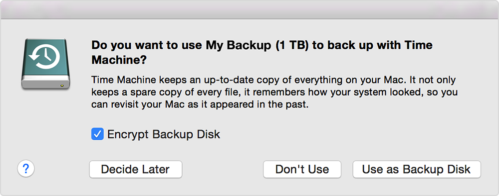 Alert: Do you want to use this disk to back up with Time Machine?