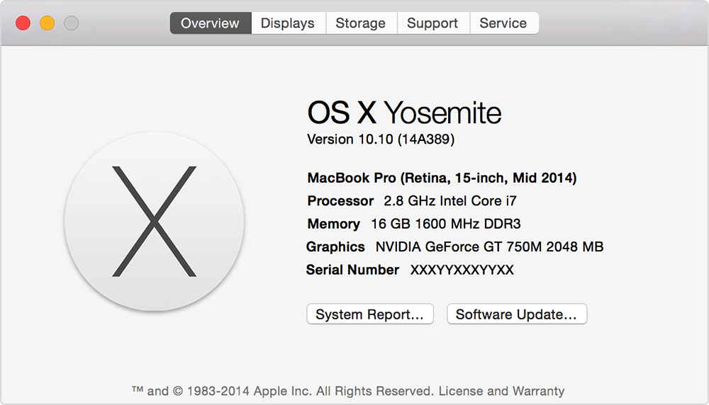 About this Mac (Yosemite)