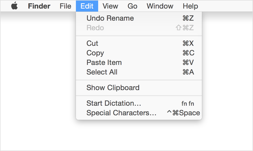 copy cut paste shortcuts mac