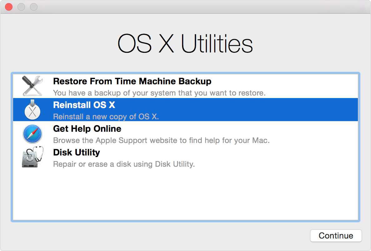 OS X Utilities window