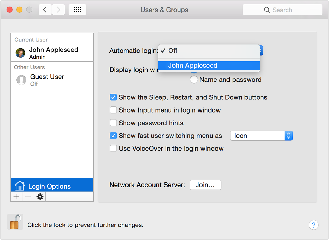 set your mac to automatically log in during startup - apple support