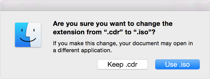 Are you sure you want to change the extension alert