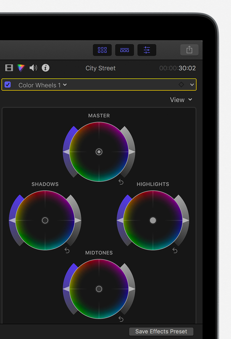 Color inspector showing Color Wheels