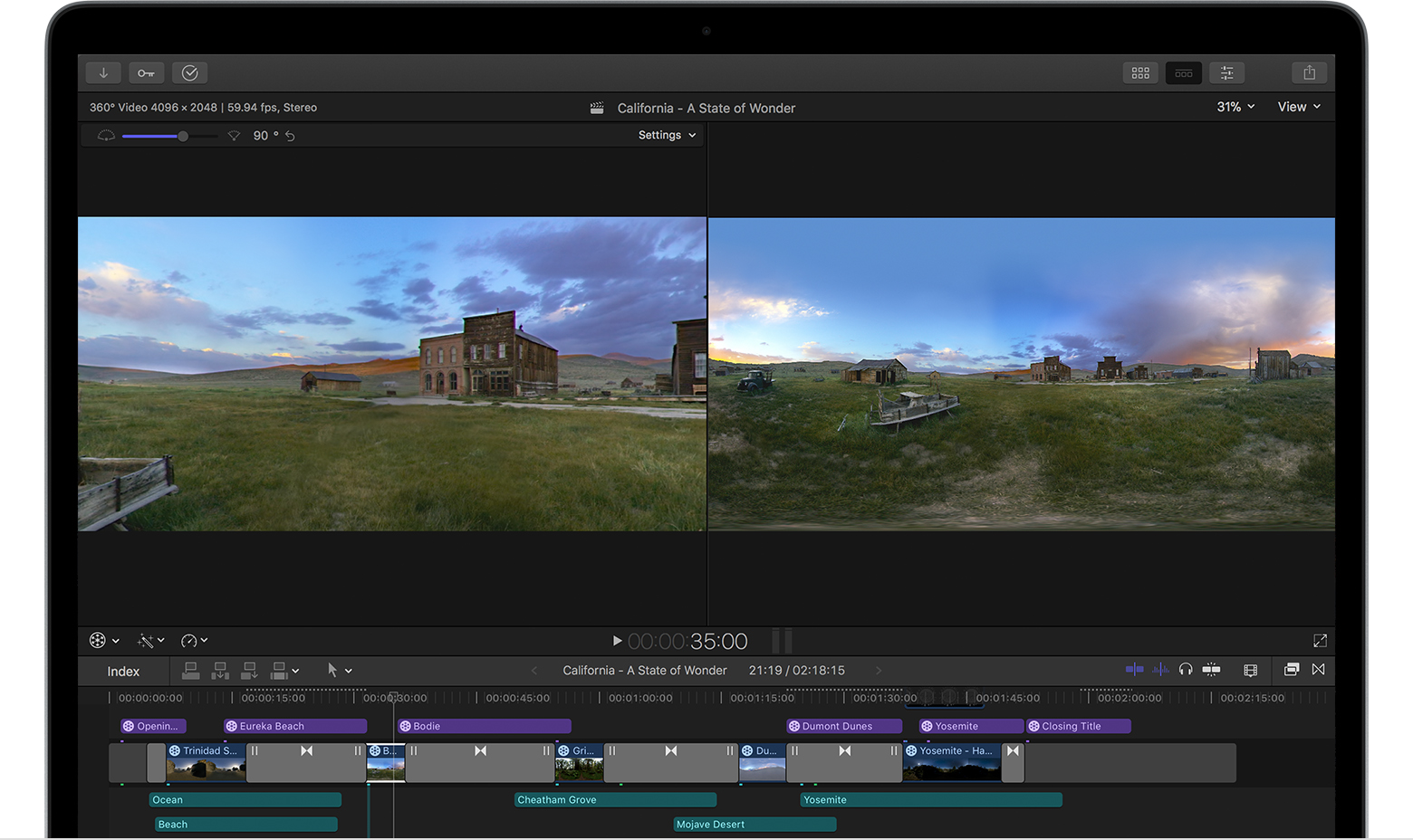79f67ae30c8d3 Edit 360° video in Final Cut Pro X 10.4 - Apple Support