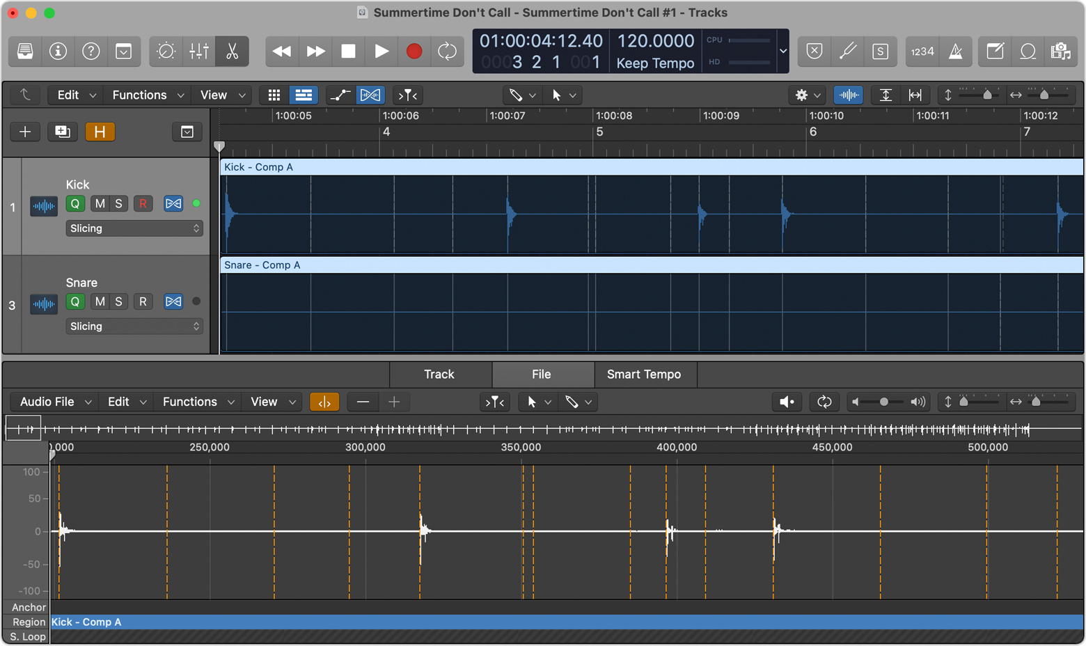 Logic Pro window with timing adjustments