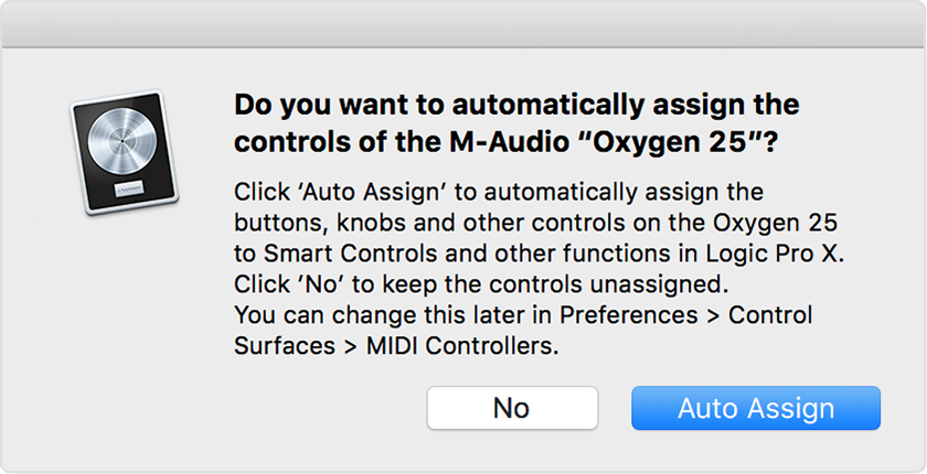 Automatically assign MIDI controller knobs, sliders, and