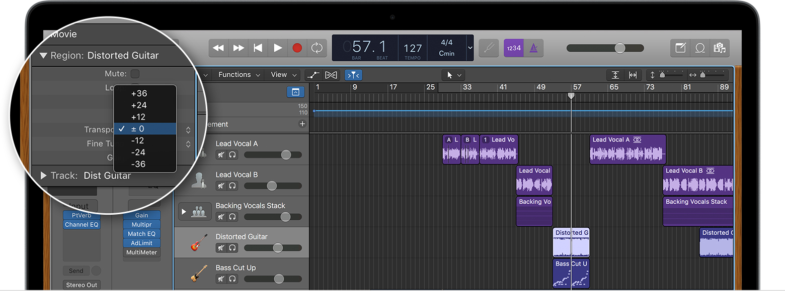 Change the pitch of an audio region in Logic Pro X - Apple