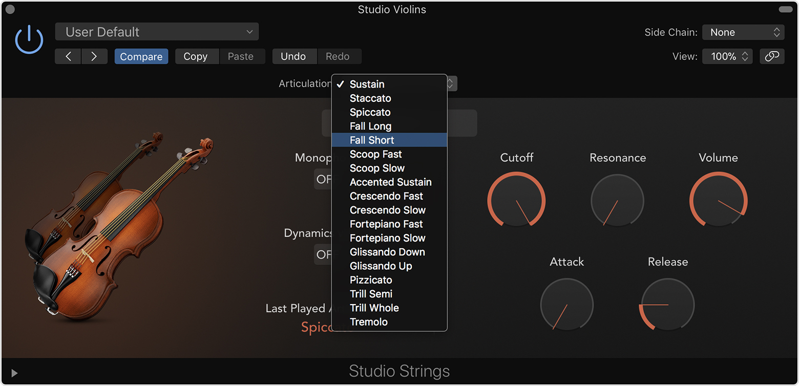 Use Studio instruments to create realistic string and horn parts in