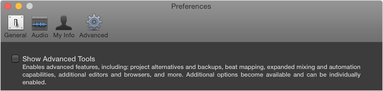 Logic preferences window