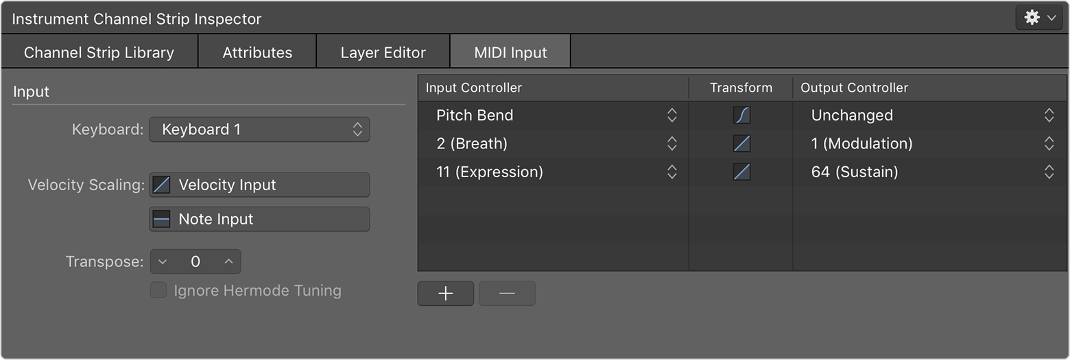 Work with MIDI controller transforms in MainStage - Apple Support