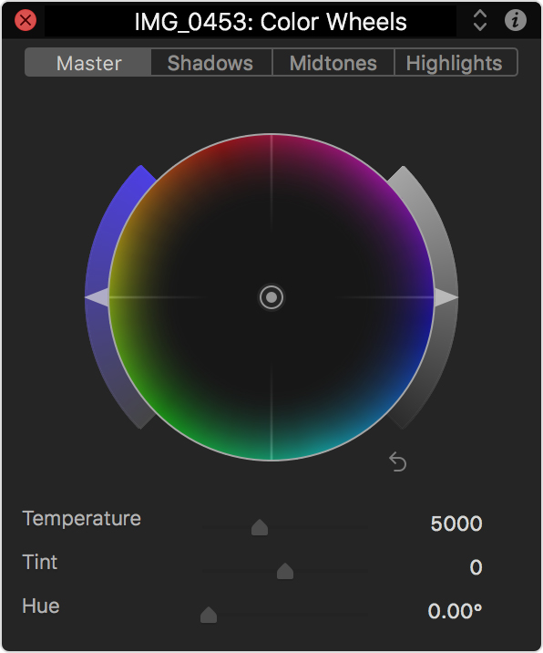 HUD showing a Color Wheel
