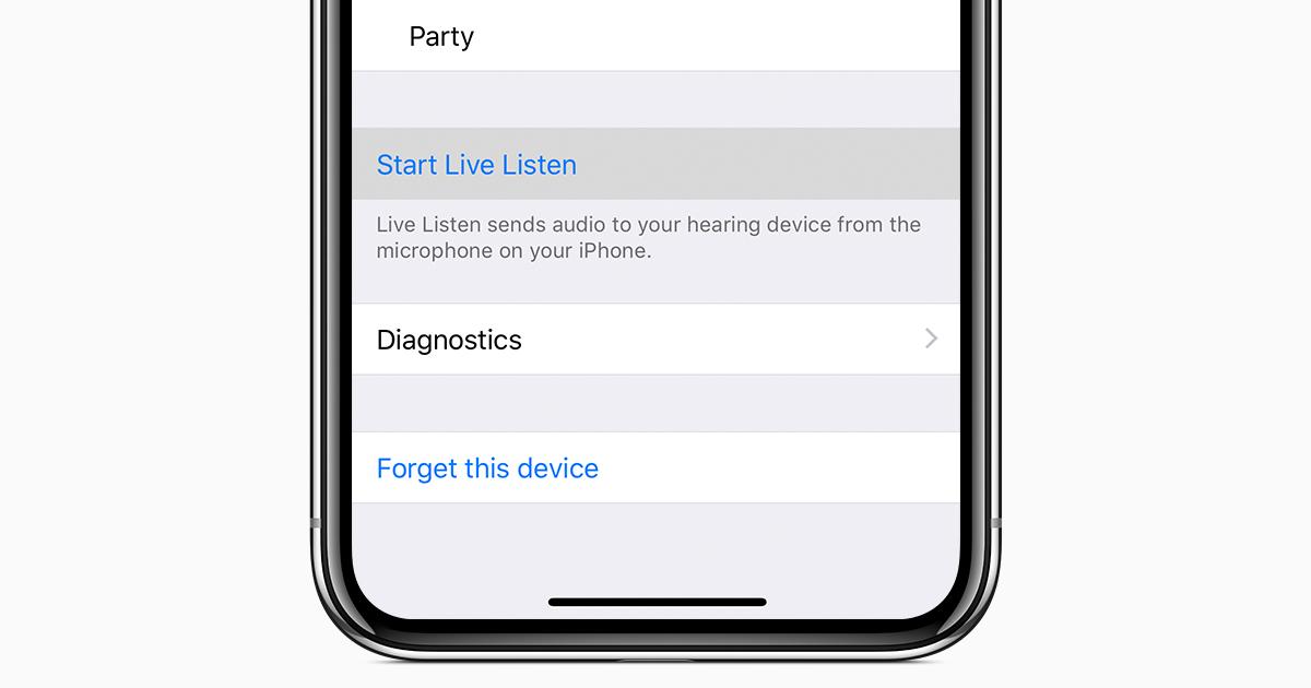 c9b5394c5dd7 Использование функции «Live-прослушивание» со слуховыми аппаратами Made for  iPhone - Служба поддержки Apple