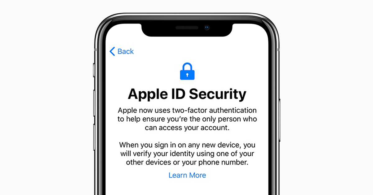 Availability of two-factor authentication for Apple ID