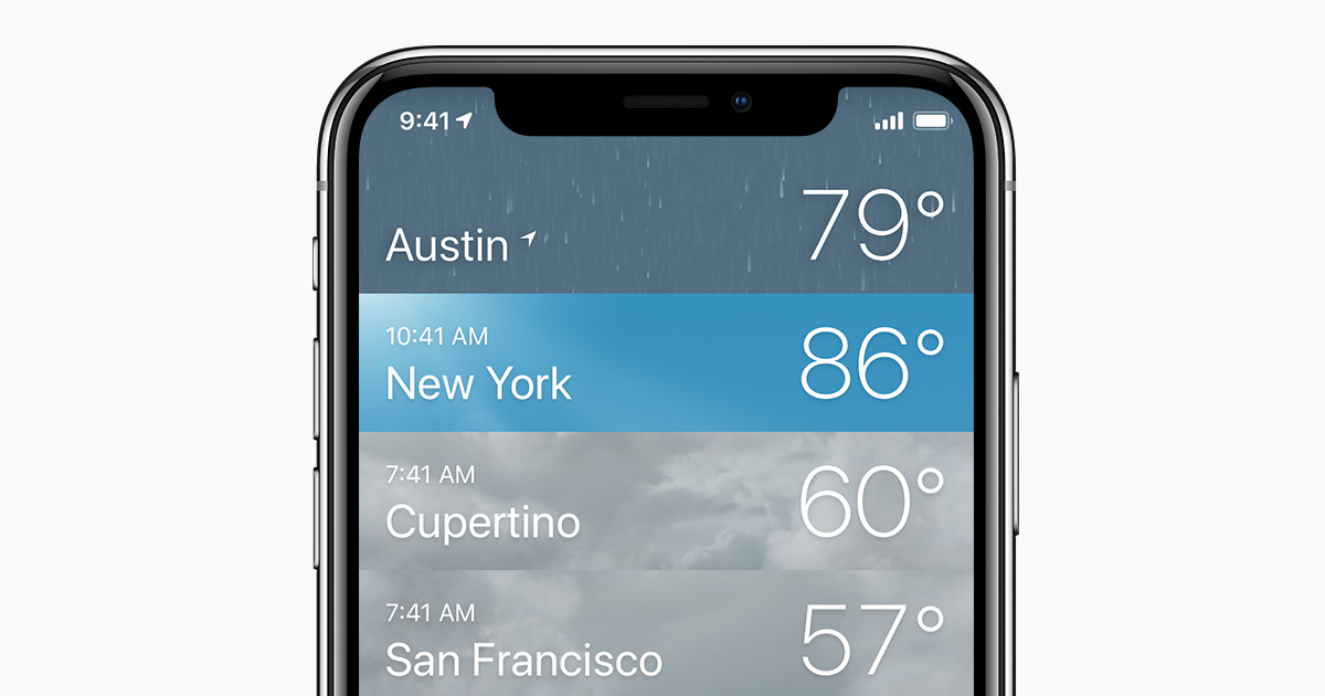 About the Weather app and icons on your iPhone and iPod