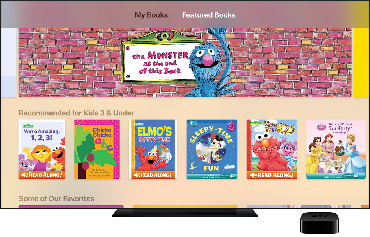 Apple TV con l'app iBooks StoryTime aperta