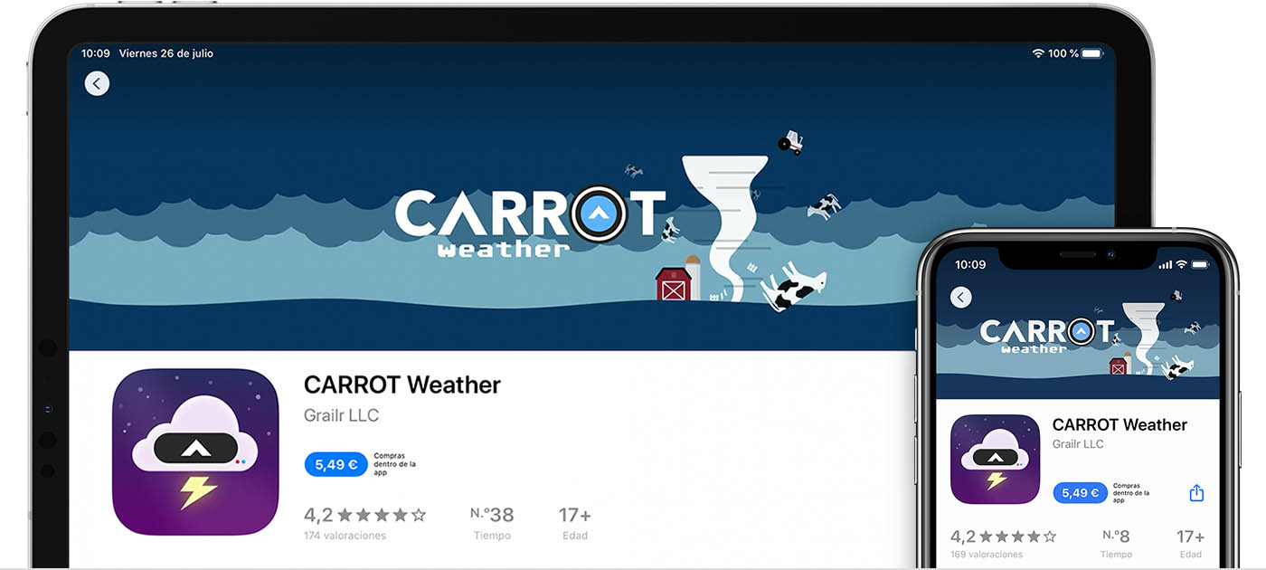 iPad y iPhone que muestran la app Carrot Weather en el App Store.