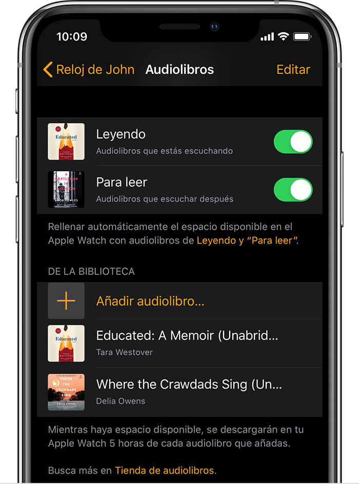 iPhone que muestra audiolibros en la app Apple Watch.